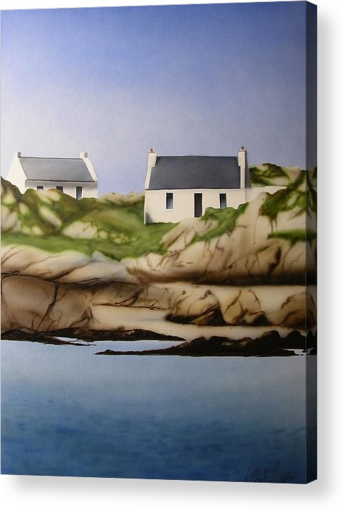 Island Cottages Ireland Seascape Acrylic Print featuring the painting Island Cottages by Kevin Gallagher