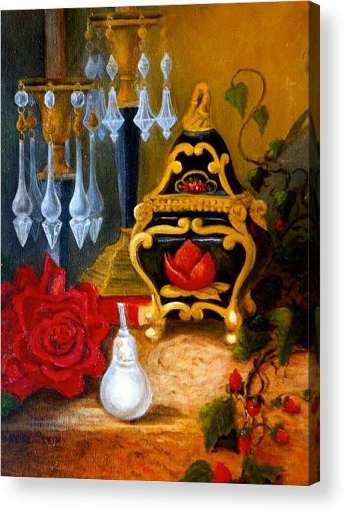 Candlesticks Acrylic Print featuring the digital art Italian Cache And Crystal by Jeanene Stein