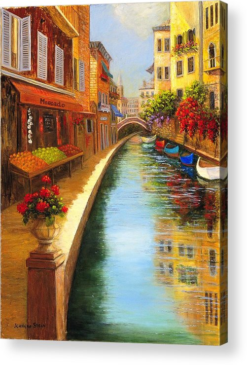Canal. Italy Acrylic Print featuring the painting Italys Canal Street by Jeanene Stein