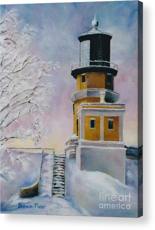 Lighthouse Acrylic Print featuring the painting Januarys Light by Brenda Thour