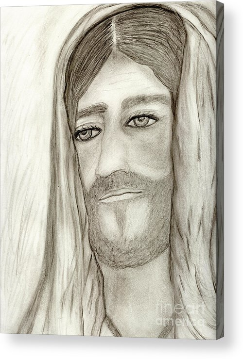 Jesus Acrylic Print featuring the drawing Jesus by Sonya Chalmers