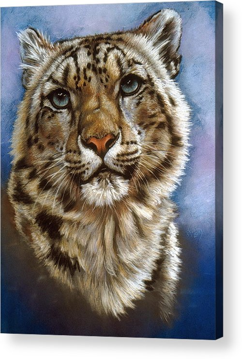 Snow Leopard Acrylic Print featuring the pastel Jewel by Barbara Keith