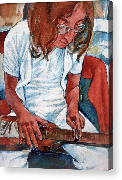 John Lennon Portrait Beatles Music Musician Rock Acrylic Print featuring the painting John by Scott Waters