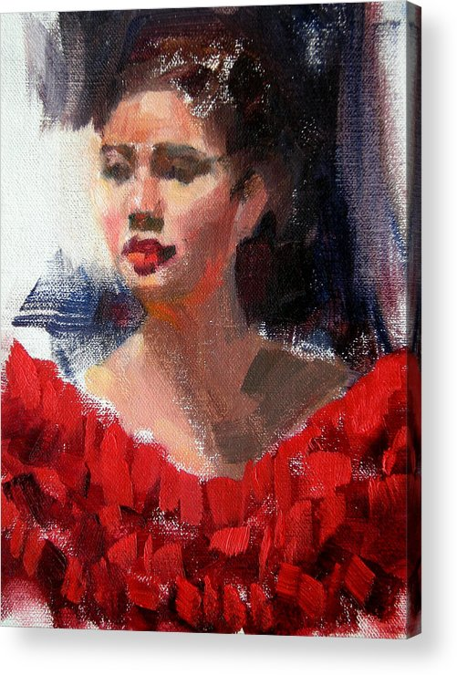 Portrait Acrylic Print featuring the painting Lady In Red by Merle Keller