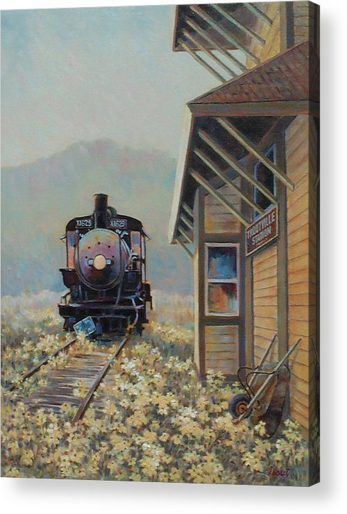 Locomotive Acrylic Print featuring the painting Last Stop Troutville by Don Trout