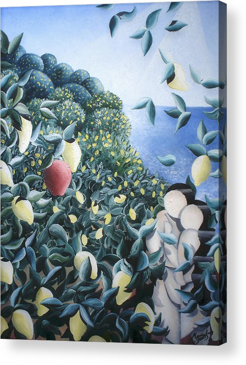 Landscape Acrylic Print featuring the painting Lemon Trees by Massimiliano Stanco