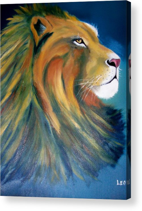 Leo Acrylic Print featuring the painting Leo S Bad Hair Day by Leo Gordon
