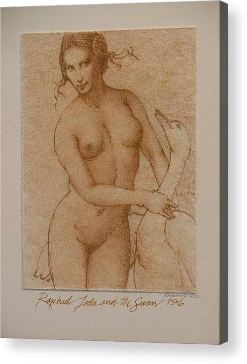 Classic Nude Acrylic Print featuring the painting Lida And The Swan After Raphael by Gary Kaemmer