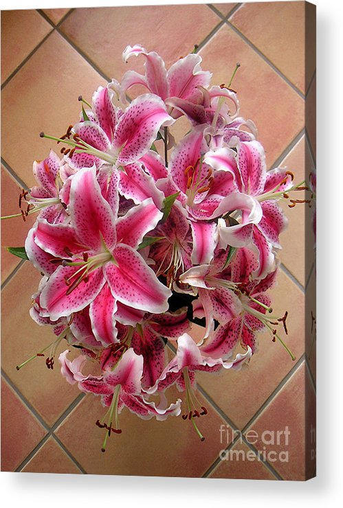 Nature Acrylic Print featuring the photograph Lilies Gathered On Tile by Lucyna A M Green