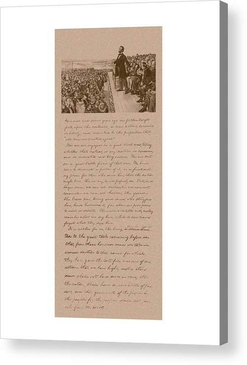 Abraham Lincoln Acrylic Print featuring the mixed media Lincoln And The Gettysburg Address by War Is Hell Store