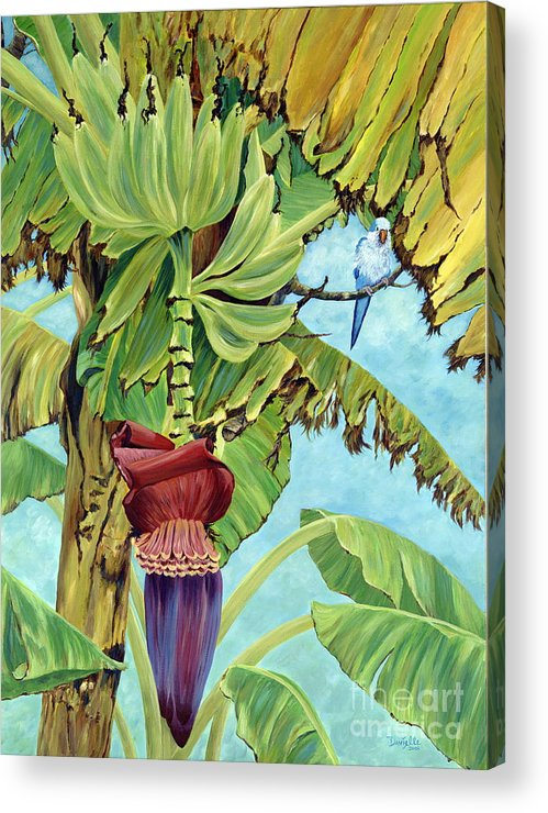 Tropical Acrylic Print featuring the painting Little Blue Quaker by Danielle Perry
