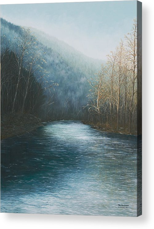 Buffalo River Paintings Acrylic Print featuring the painting Little Buffalo River by Mary Ann King