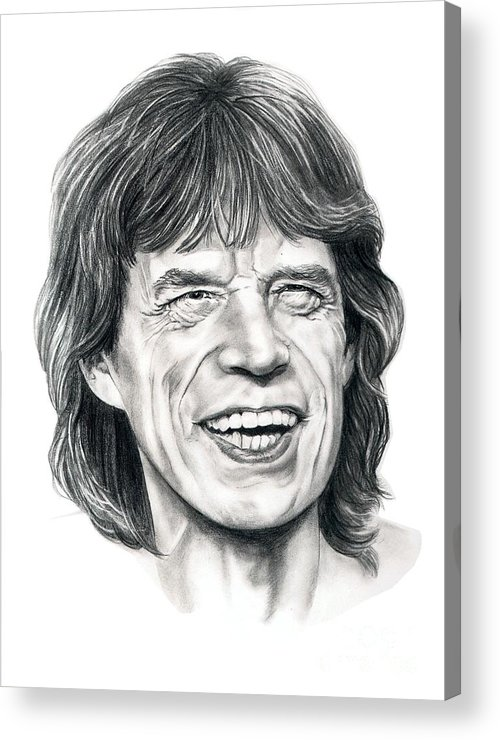 Mick Jagger Acrylic Print featuring the drawing Mick Jagger by Murphy Elliott