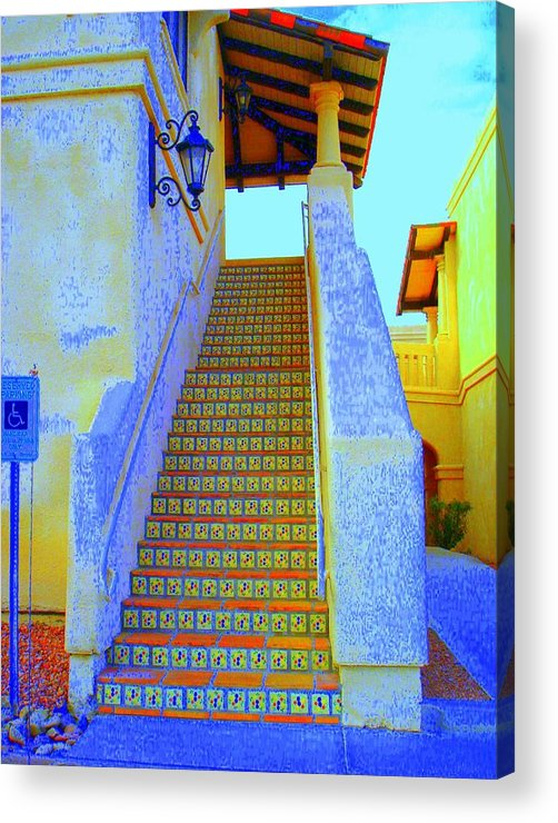 Stairway Acrylic Print featuring the photograph Moroccan Staircase by Lessandra Grimley