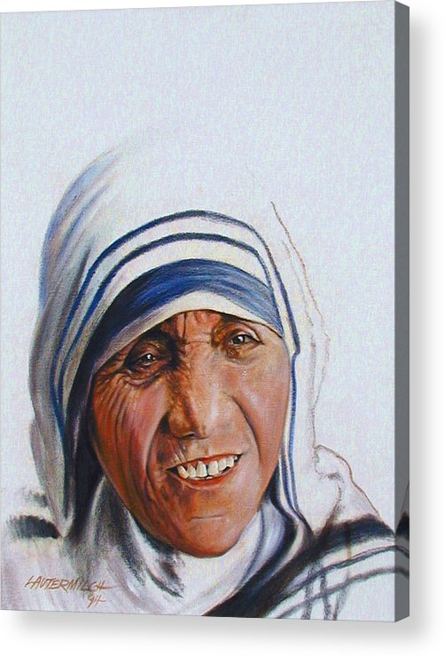 Mother Teresa Acrylic Print featuring the painting Mother Teresa by John Lautermilch