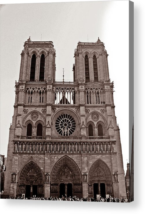 Notre Dame De Paris In Sepia Acrylic Print