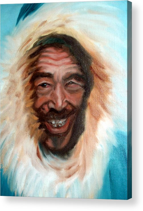 Portrait Acrylic Print featuring the painting Nunu by Lia Marsman
