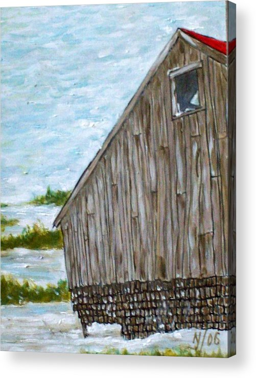 Barn Acrylic Print featuring the painting Old Barn In Winter by Norman F Jackson