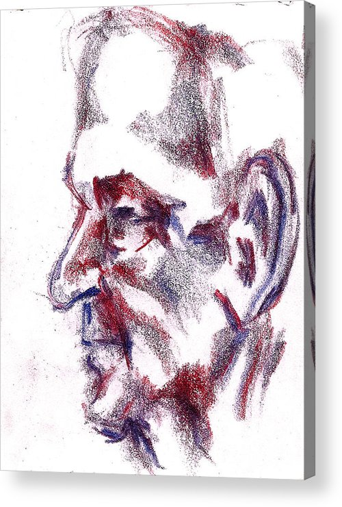 Old Acrylic Print featuring the drawing Old Man Profile by Dannielle Murphy