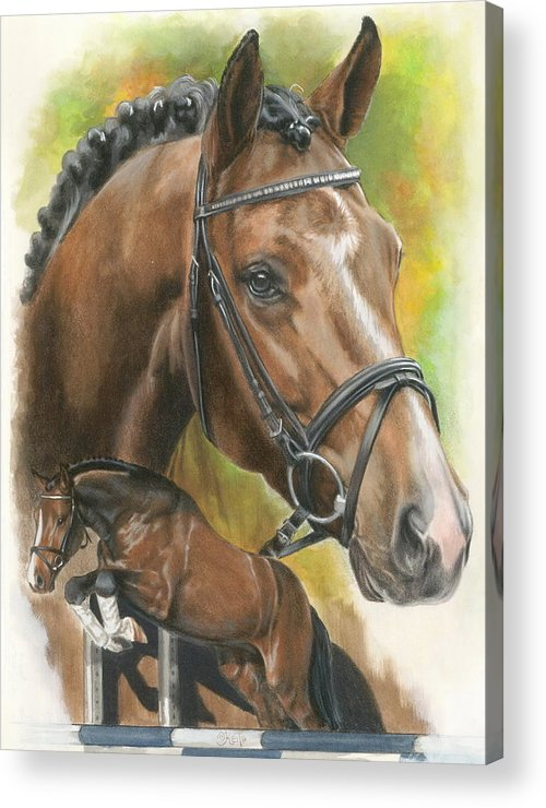 Hunter Jumper Acrylic Print featuring the mixed media Oldenberg by Barbara Keith