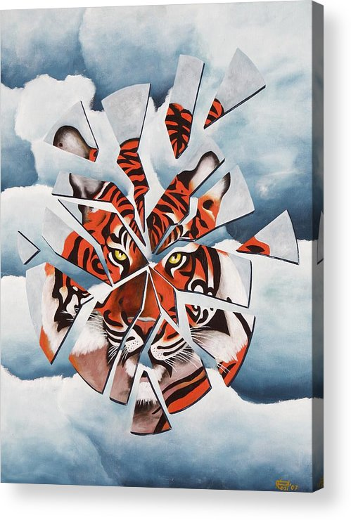 Tiger Acrylic Print featuring the painting Once I Was A Tiger by Poul Costinsky