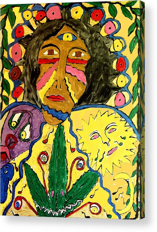 Paint Face Fantasy Acrylic Print featuring the painting Painted Face by Betty Roberts
