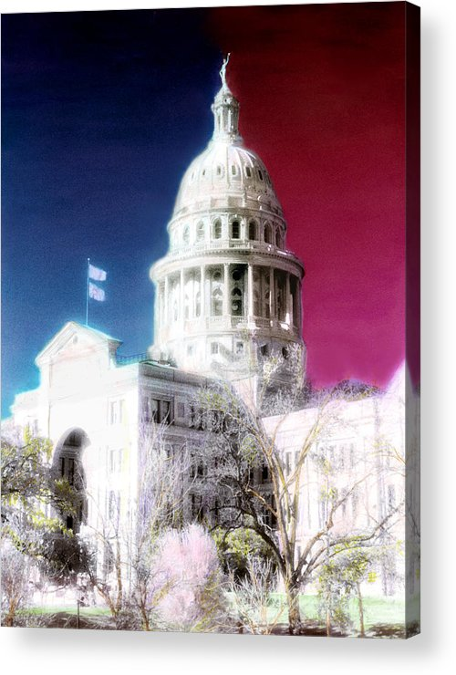 Americana Acrylic Print featuring the photograph Patriotic Texas Capitol by Marilyn Hunt