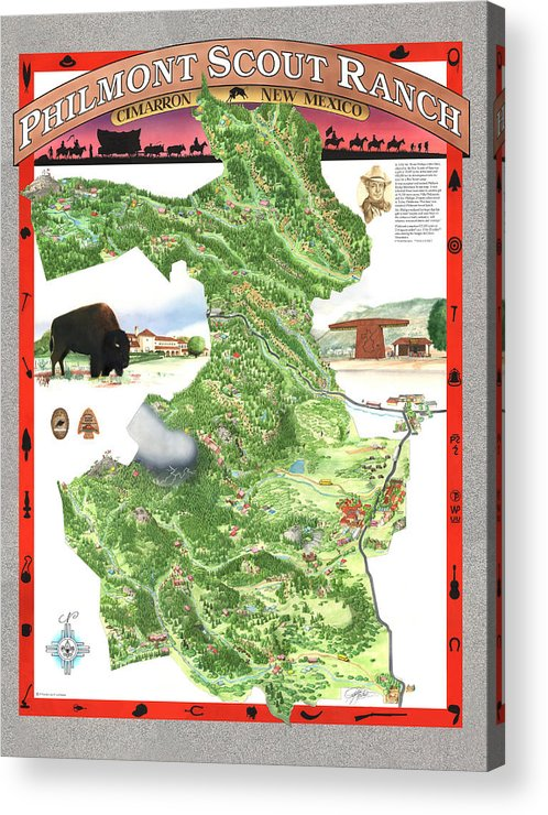 Cimarron Acrylic Print featuring the painting Philmont Scout Ranch Poster Art by Philippe Plouchart