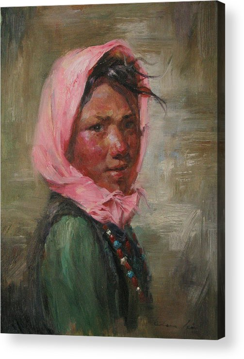 Tibet Acrylic Print featuring the painting Pink Scarf by Kelvin Lei