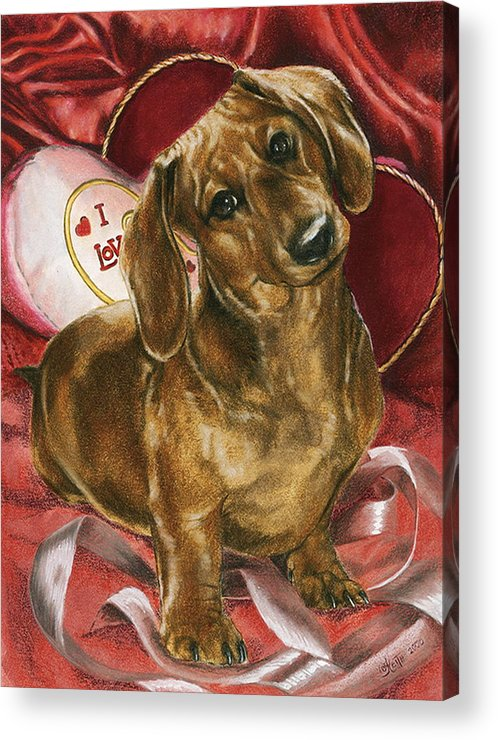 Dogs Acrylic Print featuring the mixed media Please Be Mine by Barbara Keith
