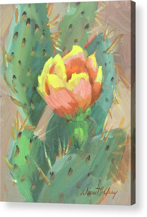 Cactus Acrylic Print featuring the painting Prickly Pear Cactus Bloom by Diane McClary
