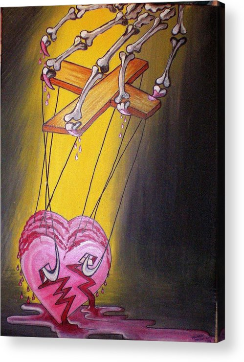 Heart Acrylic Print featuring the painting Puppeted Heart by Tammera Malicki-Wong