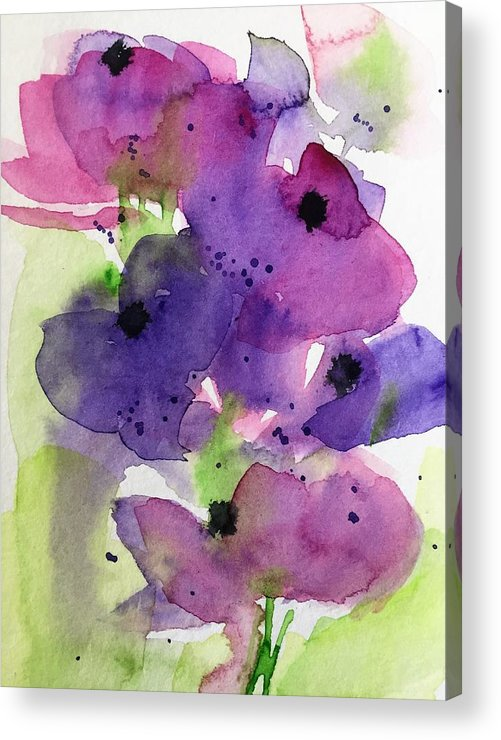 Purple Abstract Flowers In The Garden Acrylic Print