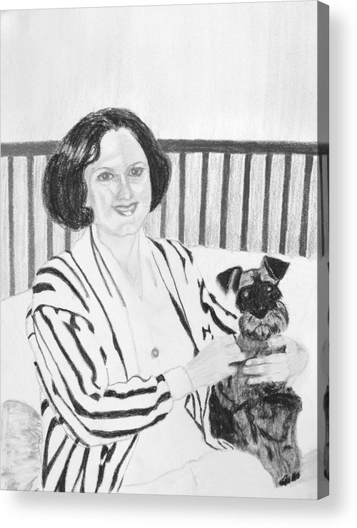 Rita Lady Dog Schnauzer Acrylic Print featuring the drawing Rita by Cathy Jourdan