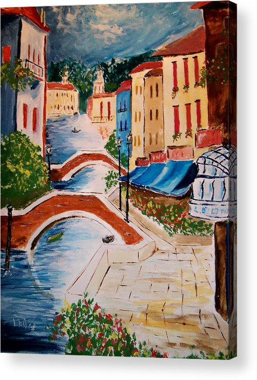 Canal Acrylic Print featuring the painting Riverwalk by Leo Gordon