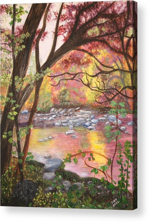 Landscape Acrylic Print featuring the painting Rock Creek Autumn by Patricia Ortman