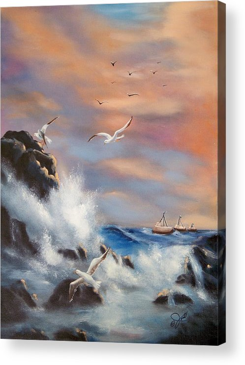 Coast Acrylic Print featuring the painting Rocky Shore by Joni McPherson