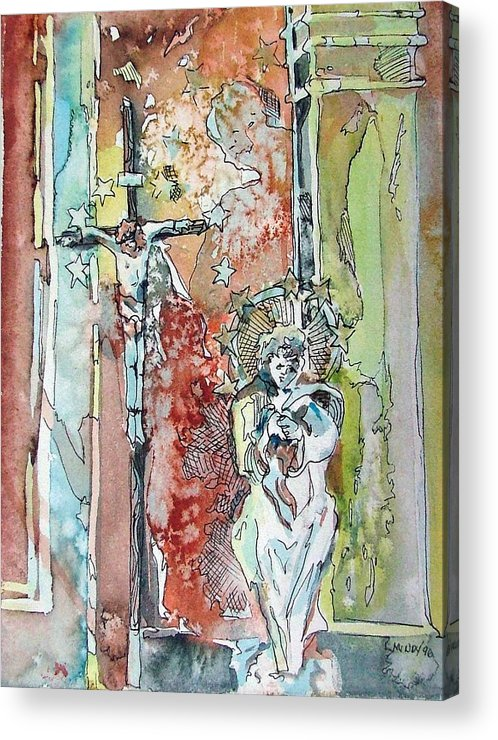 Jesus Acrylic Print featuring the painting Saint Cecilia Ronda Spain by Mindy Newman
