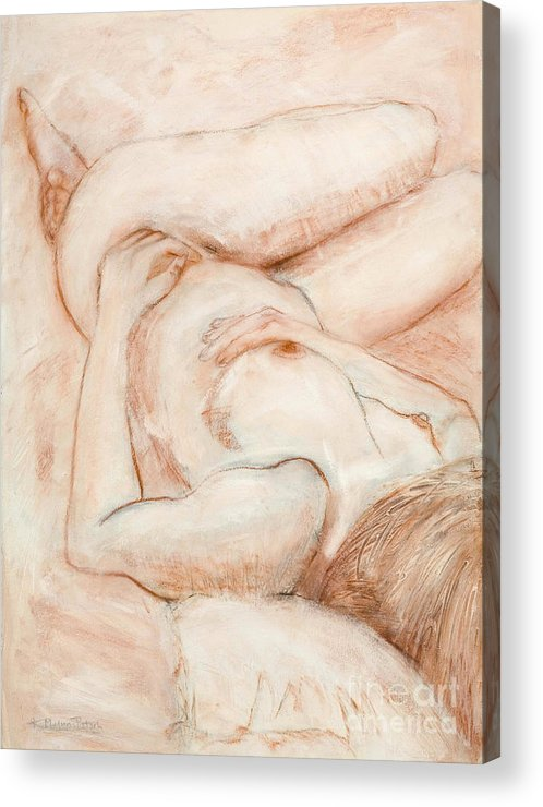 Female Acrylic Print featuring the drawing Sanguine Nude by Kerryn Madsen-Pietsch