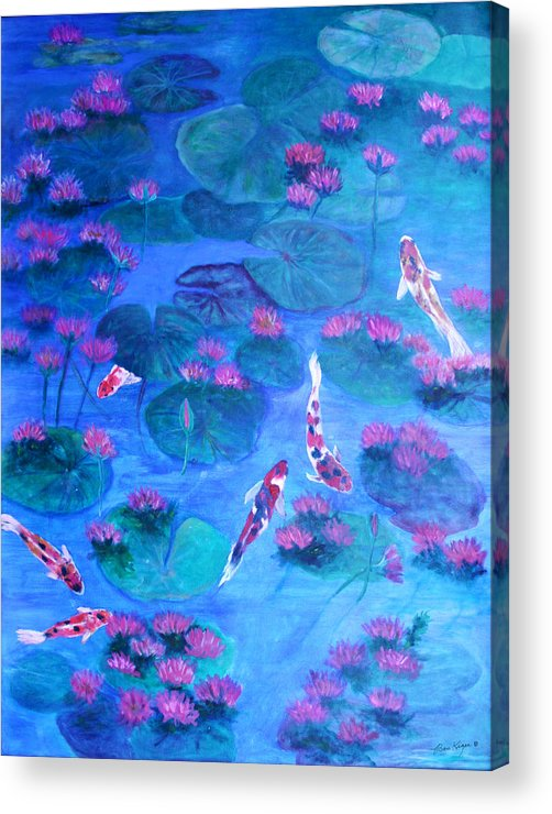 Lily Pads Acrylic Print featuring the painting Serene Pond by Ben Kiger