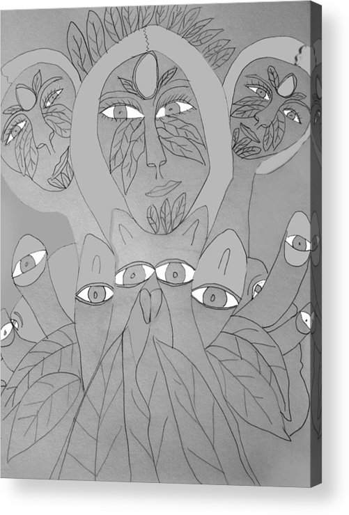 Acrylic Print featuring the drawing Sketch Idea For Wild Look by Betty Roberts