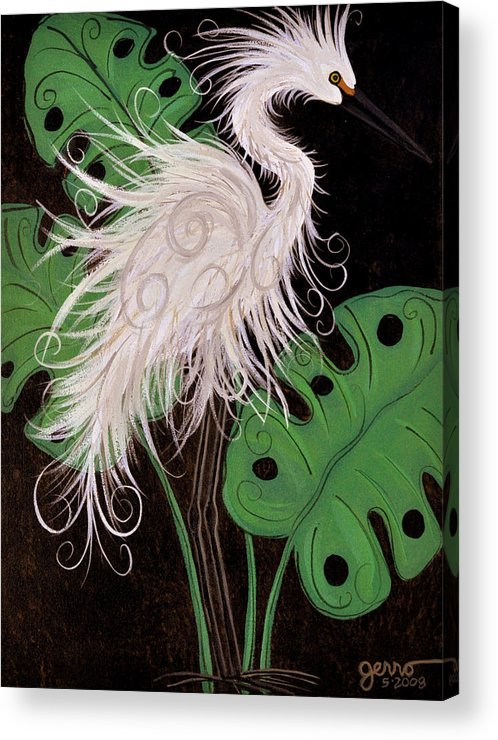 Snowy Egret Artwork Acrylic Print featuring the painting Snowy Egret Deco by Helen Gerro