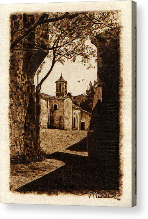 Dino Muradian Acrylic Print featuring the pyrography Somewhere'n Toscana by Dino Muradian