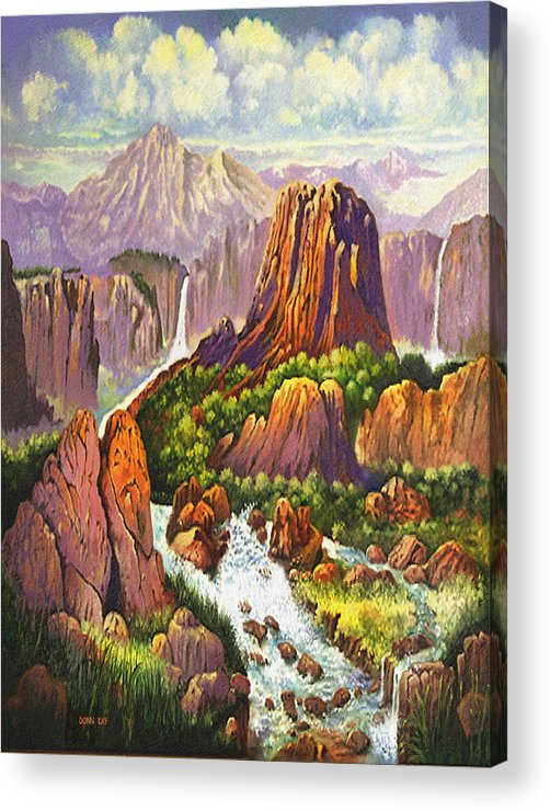 Arizona New Mexico Waterfalls Rocks Danger Mountains Giclee Prints Acrylic Print featuring the painting Southwest Mountain Floodwaters by Donn Kay