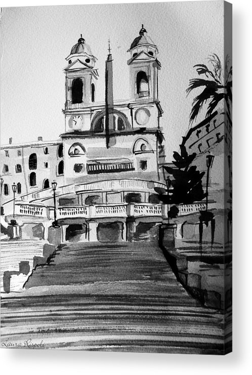 Ink Acrylic Print featuring the painting Spanish Steps by Laura Rispoli