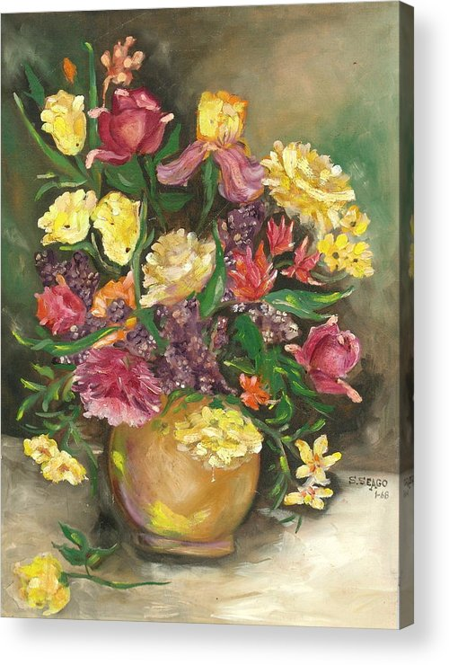 Flowers Acrylic Print featuring the painting Spring Bouquet by Sally Seago