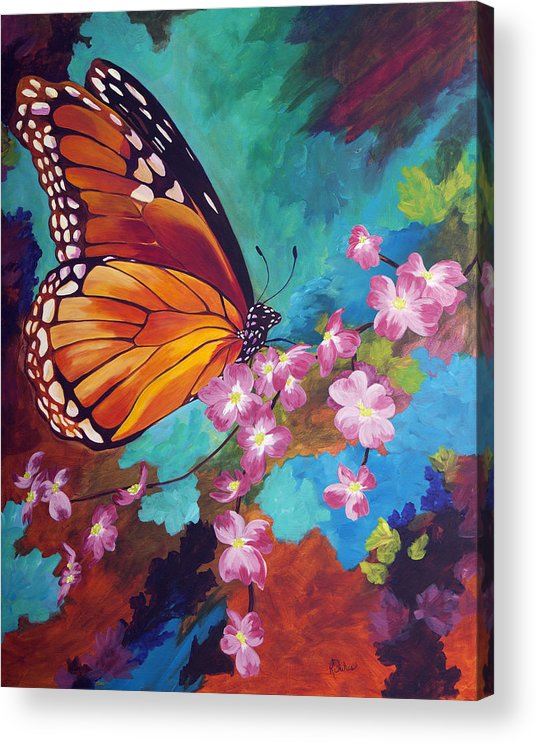 Butterfly Acrylic Print featuring the painting Spring Morning by Karen Dukes