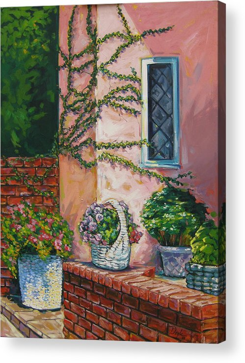 Pink Acrylic Print featuring the painting Springtime by Karen Doyle