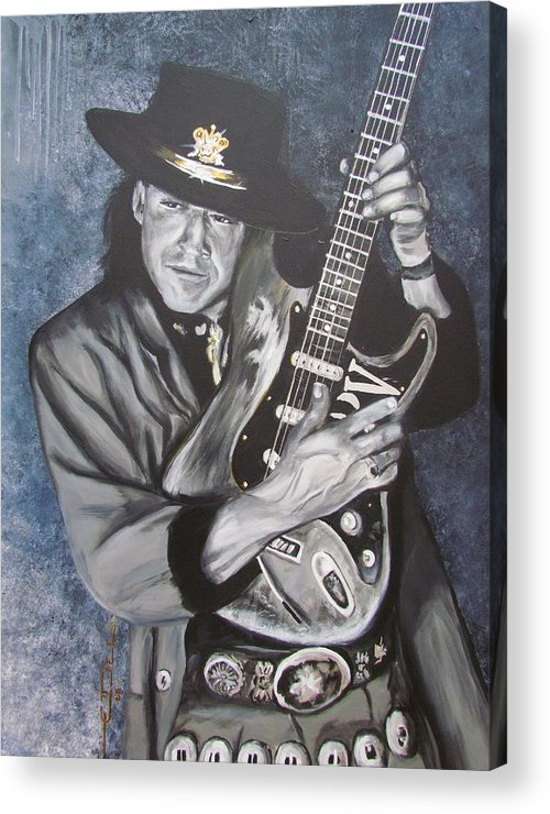 Stevie Ray Vaughan Acrylic Print featuring the painting Srv - Stevie Ray Vaughan by Eric Dee