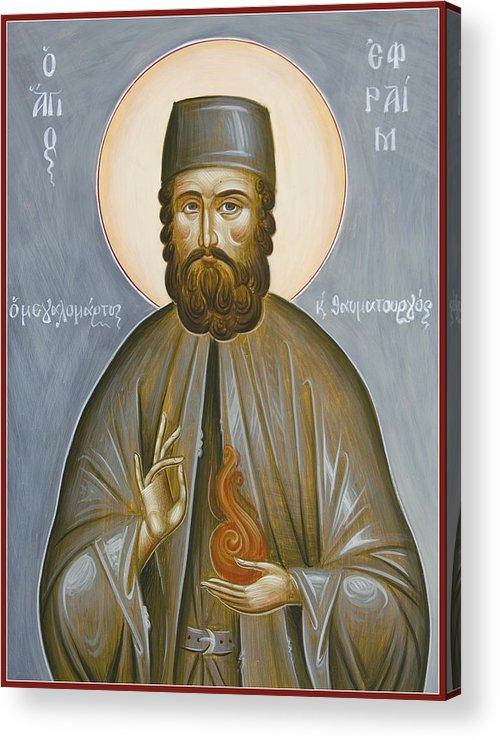 St Efraim Of Nea Makri Acrylic Print featuring the painting St Efraim Of Nea Makri by Julia Bridget Hayes